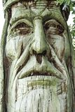 A Large Wooden Native American Statue. An old decaying carving of a Native American brave royalty free stock photo