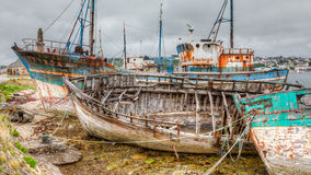 Old Decaying Wooden Boats. Camaret sur Mer's aged fishing fleet sits at the pier only to move with the tide Royalty Free Stock Images