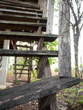Old decaying wooden staircase. Royalty Free Stock Photography