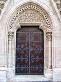 Old decorated church door ornaments in the Buda Castle in Hungary, Budapest royalty free stock photo