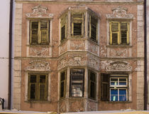 Old decorated facade and shutters, Bolzano Italy Stock Image