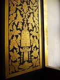 Old decorated temper door. Tradition decorated door in Thai temple Royalty Free Stock Image