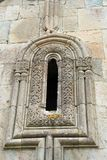 An old decorated window in the ancient monastery. In Dmanisi, Georgia royalty free stock image