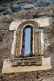An old decorated window in the Ubisa monastery stock image