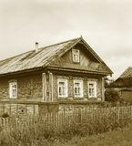 Old decorated wooden house stock image