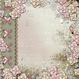 Old decorative album cover with flowers and pearls stock illustration