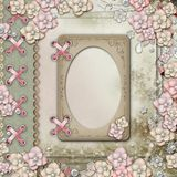 Old decorative album cover with flowers and pearls Royalty Free Stock Images