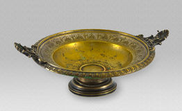 Old decorative bowl made of brass Royalty Free Stock Images