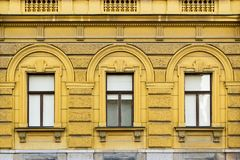 Old decorative building, yellow colored Royalty Free Stock Photography