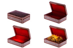 Old decorative casket. With ornament opened and closed isolated on white Stock Photo