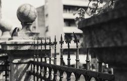 Old Decorative Fence. Details of an old decorative fence in black and white Stock Photos