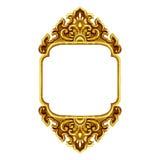 Old decorative frame antique engraved gold. Background isolated on white background Royalty Free Stock Image