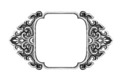 Old decorative frame antique engraved silver Royalty Free Stock Photography