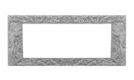 Old decorative frame - handmade, engraved - isolated on white ba. Ckground Royalty Free Stock Photos