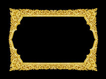 Old decorative gold frame - handmade, engraved - isolated on bla. Ck background Stock Images
