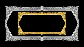 Old decorative gold frame - handmade, engraved - isolated on bla. Ck background Stock Photo