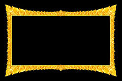 Old decorative gold frame - handmade, engraved - isolated on bla. Ck  background Royalty Free Stock Photo