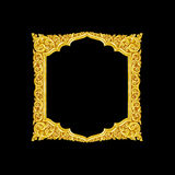 Old decorative gold frame - handmade, engraved - isolated on bla. Ck background Royalty Free Stock Images