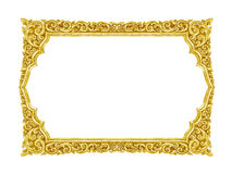 Old decorative gold frame - handmade, engraved - isolated. On white background Stock Image