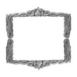 Old decorative gray frame - handmade, engraved - isolated on white background. Stock Photo