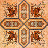 Old decorative sandstone tile background patterns handicraft fro Royalty Free Stock Photography