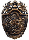 Old decorative shield toy. Isolated over white Royalty Free Stock Photography