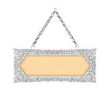 Old decorative sign frame with chain - handmade, engraved - isol Royalty Free Stock Photography