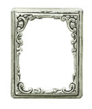 Old decorative silver frame. Handmade, engraved - isolated on white background, with clipping paths Stock Images
