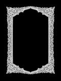 Old decorative silver frame - handmade, engraved - isolated on b Stock Images