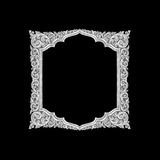 Old decorative silver frame - handmade, engraved - isolated on b. Lack  background Royalty Free Stock Photography
