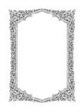Old decorative silver frame - handmade, engraved - isolated on w Royalty Free Stock Images
