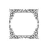 Old decorative silver frame - handmade, engraved - isolated on w Royalty Free Stock Photos