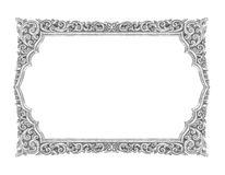 Old decorative silver frame - handmade, engraved - isolated on w Royalty Free Stock Image