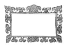 Old decorative silver frame - handmade. Engraved - isolated on white background Royalty Free Stock Image