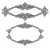 Old decorative silver frame isolated on white. Background Royalty Free Stock Images
