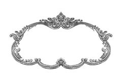 Old decorative silver frame isolated on white Royalty Free Stock Photos