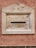 Old decorative stone mailbox. Decorative marble mailbox in the Italian town of Bergamo Royalty Free Stock Photos