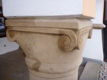 Old decorative supporting column of vault Royalty Free Stock Photography