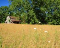 Old decrepit barn in pasture. Rural Missouri barn in pasture Stock Photo