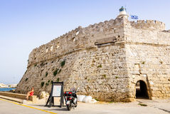 Old defense fort in Rhodes harbor Royalty Free Stock Images