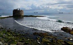 Old defense tower, bay of Las Palmas stock image