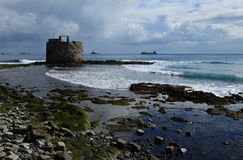 Old defense tower by the sea, Gran Canaria royalty free stock photo