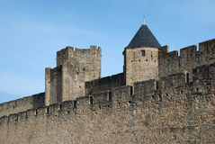 Old defense walls of Carcasson castle, France Stock Image