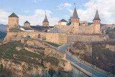 Old defensive castle. Old stone castle with towers and bridge Royalty Free Stock Photos