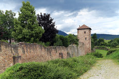 Old defensive wall to town, Alsace, France Royalty Free Stock Photos
