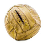 Old deflated soccer ball. Old soccer ball on a white background Stock Photo