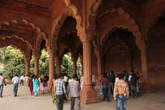 Old Delhi Red Fort and tourists Royalty Free Stock Photography