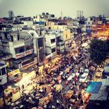 Old Delhi in twilight. View for Hari Baoli street from rooftop of Spice Market royalty free stock images