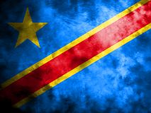 Old Democratic Republic of the Congo grunge background flag.  Royalty Free Stock Images