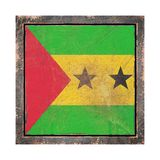 Old Democratic Republic of Sao Tome and Principe flag. 3d rendering of a Democratic Republic of Sao Tome and Principe flag over a rusty metallic plate wit a Stock Images